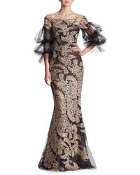 Marchesa - Off-the-shoulder Lace Column Evening Gown W/ Tulle Balloon Sleeves - Lyst