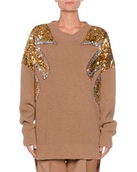 N°21 - Crewneck Sequin-detail Ribbed Wool Sweater - Lyst