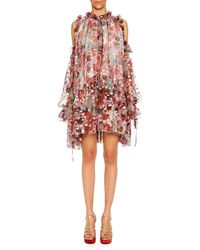 Alexander McQueen - Cold-shoulder Feather-print Silk Fil Coupe Peasant Dress - Lyst