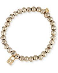 Sydney Evan - 6mm Beaded Pyrite Bracelet With Diamond Lock Charm - Lyst