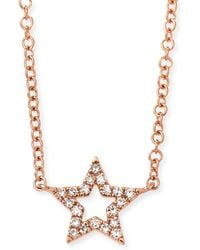 EF Collection - 14k Rose Gold Diamond Open Star Necklace - Lyst