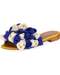 Malone Souliers - Satin Rosette One-band Slide Sandals - Lyst