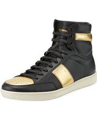 Saint Laurent - Men's Metallic High-top Sneaker - Lyst