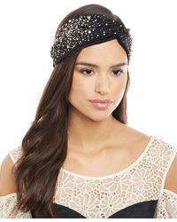 Jennifer Behr - Silk Satin Turban Head Wrap W/ Scattered Crystals - Lyst