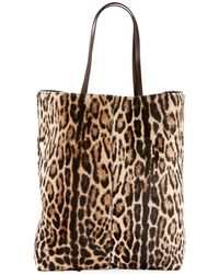 Saint Laurent - Leopard-print Hair Calf Tote Bag - Lyst