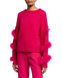 d3cb511fb21f14 Sally Lapointe - Cashmere-silk Feather-wrapped Sweater - Lyst