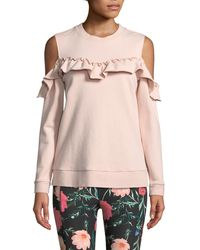 Kate Spade - Cold-shoulder Ruffle Pullover Sweatshirt - Lyst
