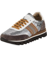 Brunello Cucinelli - Metallic Leather Runner Sneakers - Lyst