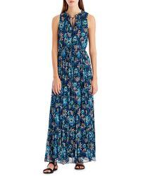 Lyst - Roberto Cavalli Sleeveless Mixed-print Maxi Dress in Blue 56d92fbfb