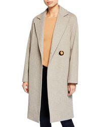 Fleurette - Wool Asymmetric One-button Midi Coat - Lyst