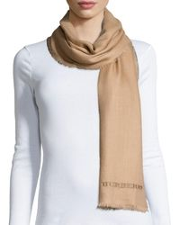 Burberry - Logo-embroidered Lightweight Cashmere Scarf - Lyst