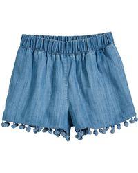Splendid - Chambray Shorts W/ Hanging Pompom Trim - Lyst