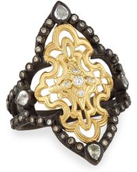Armenta | Old World Open Scroll Ring With Diamonds | Lyst