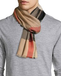 Burberry - Ombre Mega Check Cashmere Scarf - Lyst