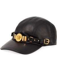 Versace - Leather Baseball Cap With Medusa Medalion - Lyst