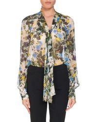 Erdem - Rosabel Meadow Printed Tie-neck Silk Blouse - Lyst