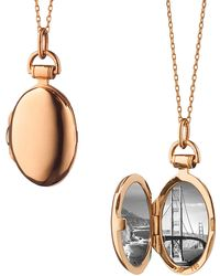 "Monica Rich Kosann - 18k Rose Gold Petite ""anna"" Locket - Lyst"