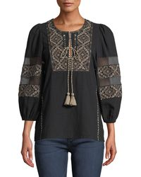 Figue - Joni 3/4-sleeve Embroidered Peasant Blouse - Lyst