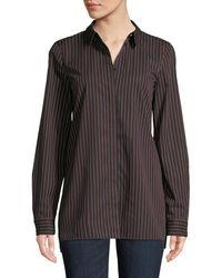Lafayette 148 New York - Brayden Spirited Stripe Cotton Blouse - Lyst