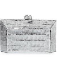 Nancy Gonzalez - Geo Kiss-lock Metallic Crocodile Minaudiere Clutch Bag - Lyst