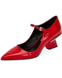 Prada - Patent Mary Jane Pumps With Angled Heel - Lyst