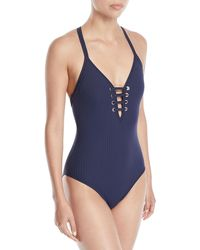 Seafolly - Inka Ribbed Lace-up One-piece Swimsuit - Lyst
