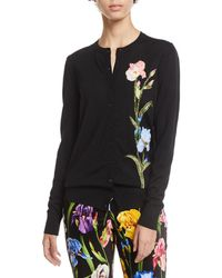 Dolce & Gabbana - Button-front Crewneck Wool Cardigan W/ Floral Applique - Lyst