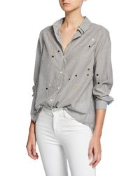 The Great - The Oversized Swing Oxford Embroidered Top - Lyst