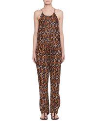 Étoile Isabel Marant - Namibia Sleeveless Ochre-print Cotton Voile Jumpsuit - Lyst