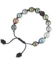 Armenta - Old World Tahitian Pearl Pull-cord Bracelet With Champagne Diamonds - Lyst