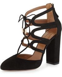 Aquazzura - Holli Suede Cage Pumps - Lyst