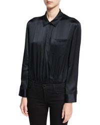 T By Alexander Wang - Long-sleeve Wrap Shirt Bodysuit W/ Threadwork - Lyst