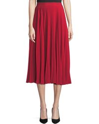 Co. - Chrstal A-line Pleated Crepe Midi Skirt - Lyst