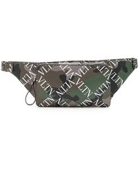 5ee865e276 Valentino - Men s Camo-pattern Logo-print Leather Belt Bag - Lyst