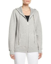 Michael Kors - Zip-front Cashmere Hoodie With Embellished-cords - Lyst