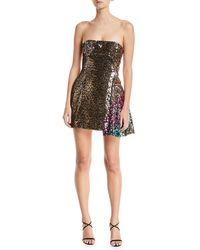 Halpern - Sequined Leopard-print One-shoulder Cocktail Dress - Lyst