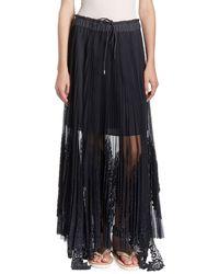 Sacai - Pleated-lace Maxi Skirt - Lyst