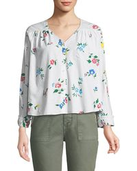 The Great - The Boutonniere Floral-embroidered Cotton Top - Lyst