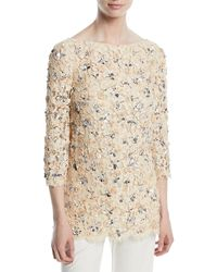 Michael Kors - 3/4-sleeve Bateau-neck Lace Blouse With Rose Embroidery & Sequins - Lyst