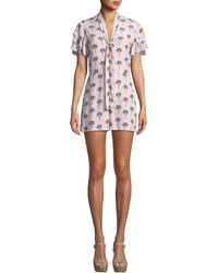 Alice + Olivia - Macall Ruffle Short-sleeve Palm-tree Print Romper - Lyst
