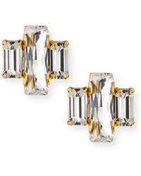Auden - Crystal Baguette Trio Stud Earrings - Lyst