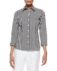 Lafayette 148 New York - Janessa Button-front Check-print Blouse - Lyst
