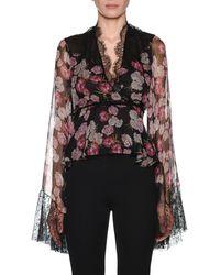 Giambattista Valli - V-neck Bell-sleeve Floral-print Silk Blouse W/ Wrap Belt & Lace Trim - Lyst