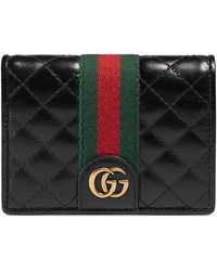 a8599692faa7 Gucci Ophidia GG Supreme Flap Card Case in Natural - Lyst