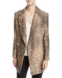 Badgley Mischka - Leopard Sequin Double-breasted Coat - Lyst