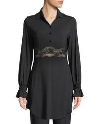 La Perla - Lapis Lace-inset Long-sleeve Lounge Shirt - Lyst