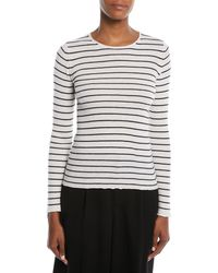 Vince - Striped Rib Cashmere Crewneck Sweater - Lyst