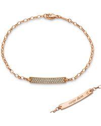 Monica Rich Kosann - Petite Poesy Diamond Id Bracelet In 18k Rose Gold - Lyst