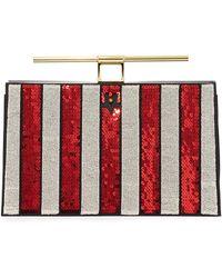 8c3fa01b66 the VOLON - Chateau Sequin Striped Bar-handle Clutch Bag - Lyst