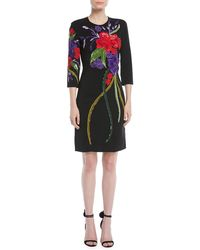 Naeem Khan - 3/4-sleeve Floral-embroidered Sheath Cocktail Dress - Lyst